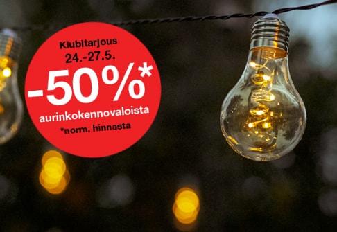 -50% aurinkokennovaloista