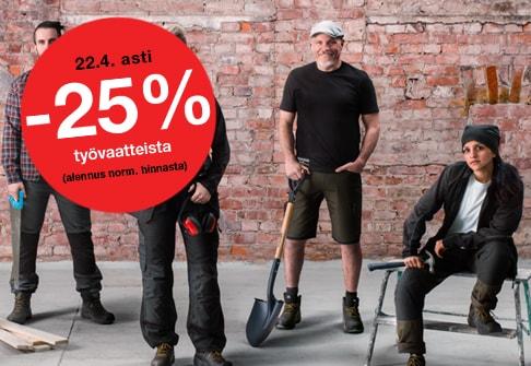 -25% työvaatteista