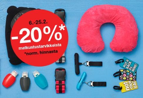 -20% matkustustarvikkeista