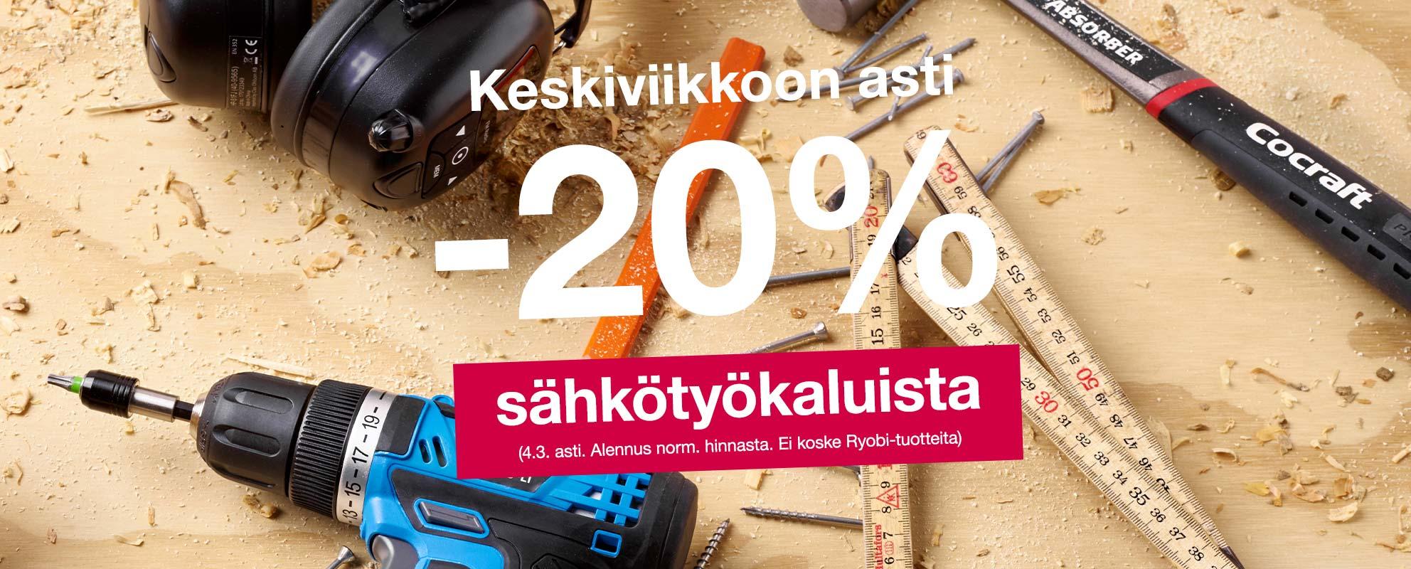 Maanantaihin asti -20 % sähkötyökaluista (2.3. asti. Alennus norm. hinnasta. Ei koske Ryobi-tuotteita)