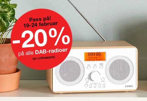 -20% paring; alle DAB-radioer