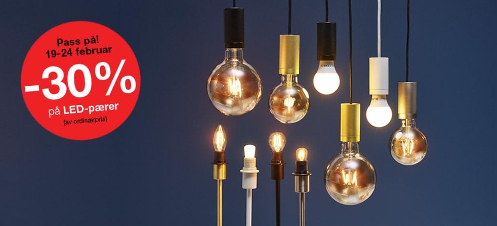 -30% paring; alle LED-pærer