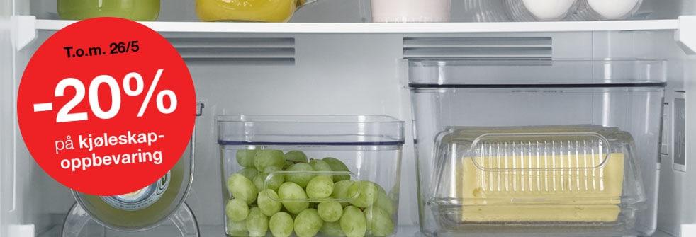 20% på kjøleskapoppbevarin