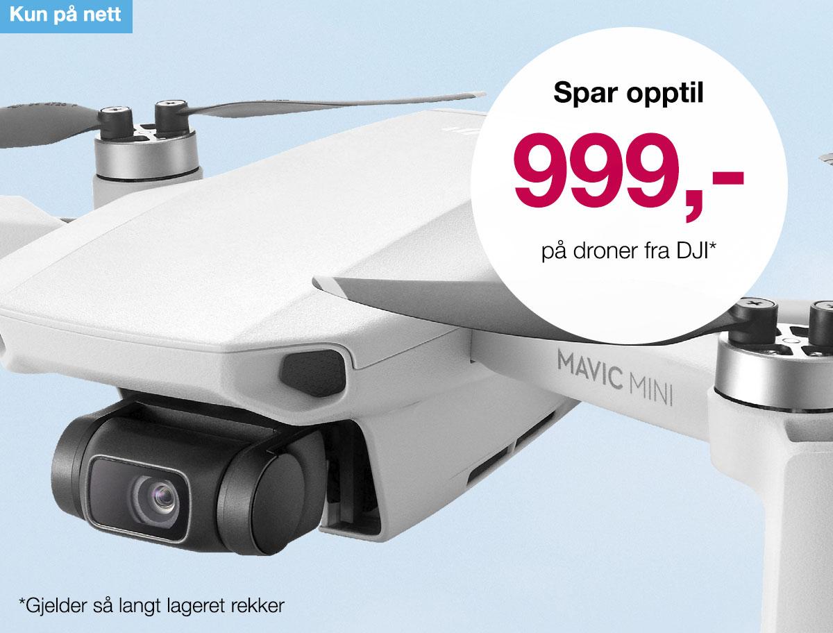 Opp till 999,- avslag på utvalgte droner fra DJI. Pass på gjelder kun så lenge lagret rekker! Gjelder kun i nettbutikken