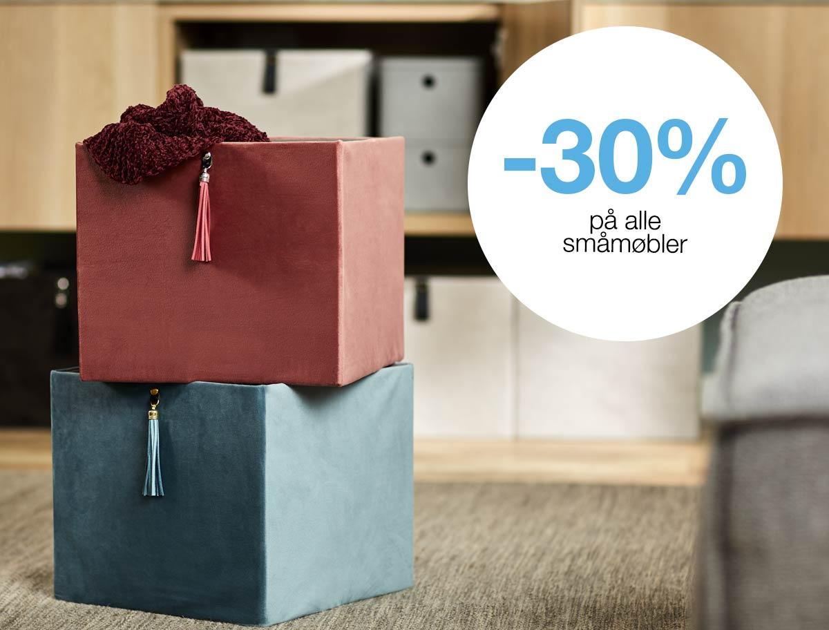 -30%  på alle småmøbler