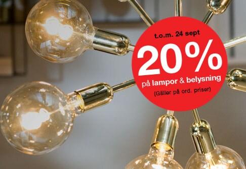 20% på lampor och belysning