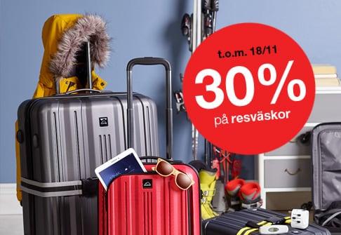 30% på resväskor