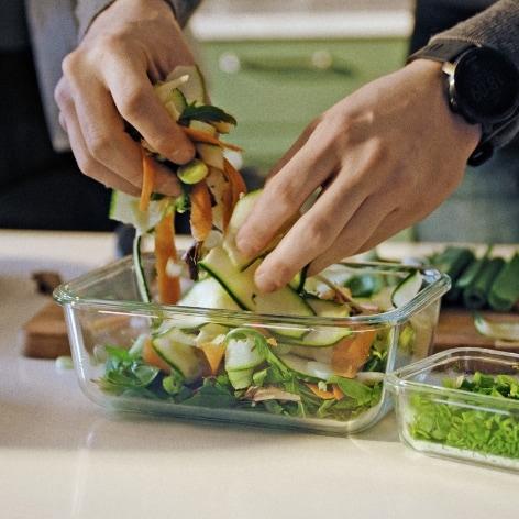 Flexibel matförvaring av glas