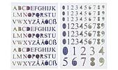 Självhäftande siffror och bokstäver