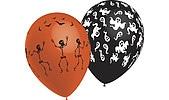 Halloweenballonger Spöken, skelett och fladdermöss