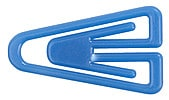 Plastic paper clips in assorted colours.