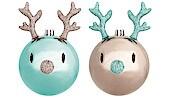 Weihnachtsbaumkugeln Rentiere 8 cm, 2er-Set