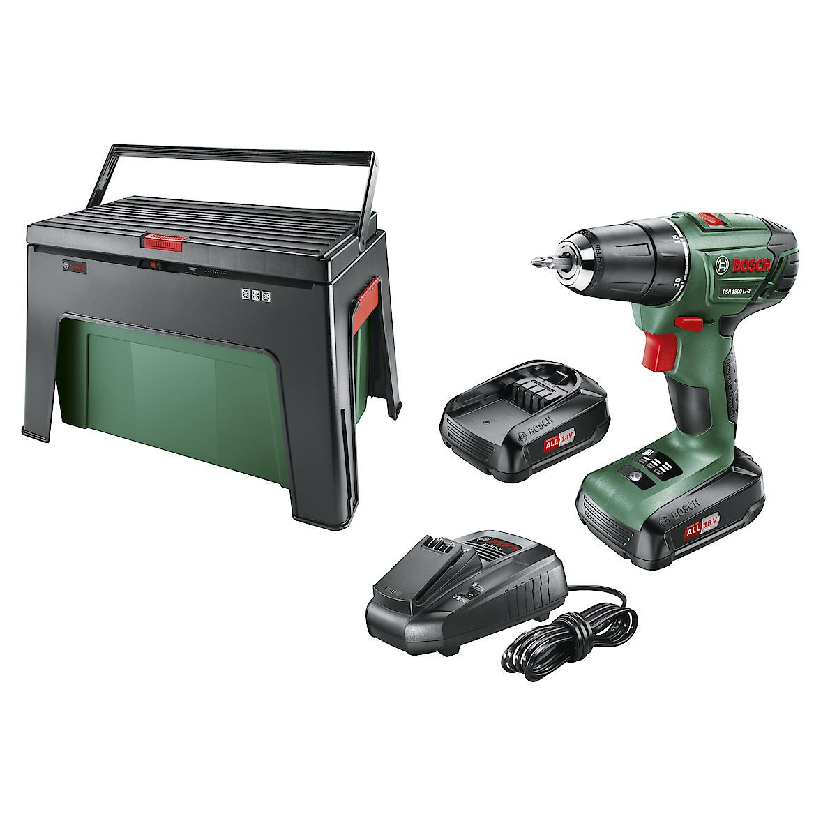 Skruvdragare Bosch PSR 1800 LI-2 med Step & Workbox