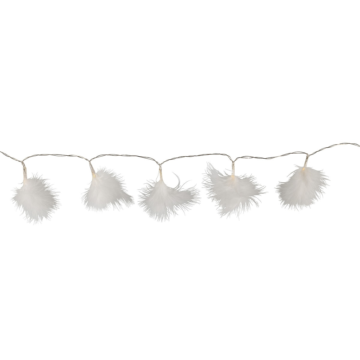 Battery-Powered String Light with Feathers