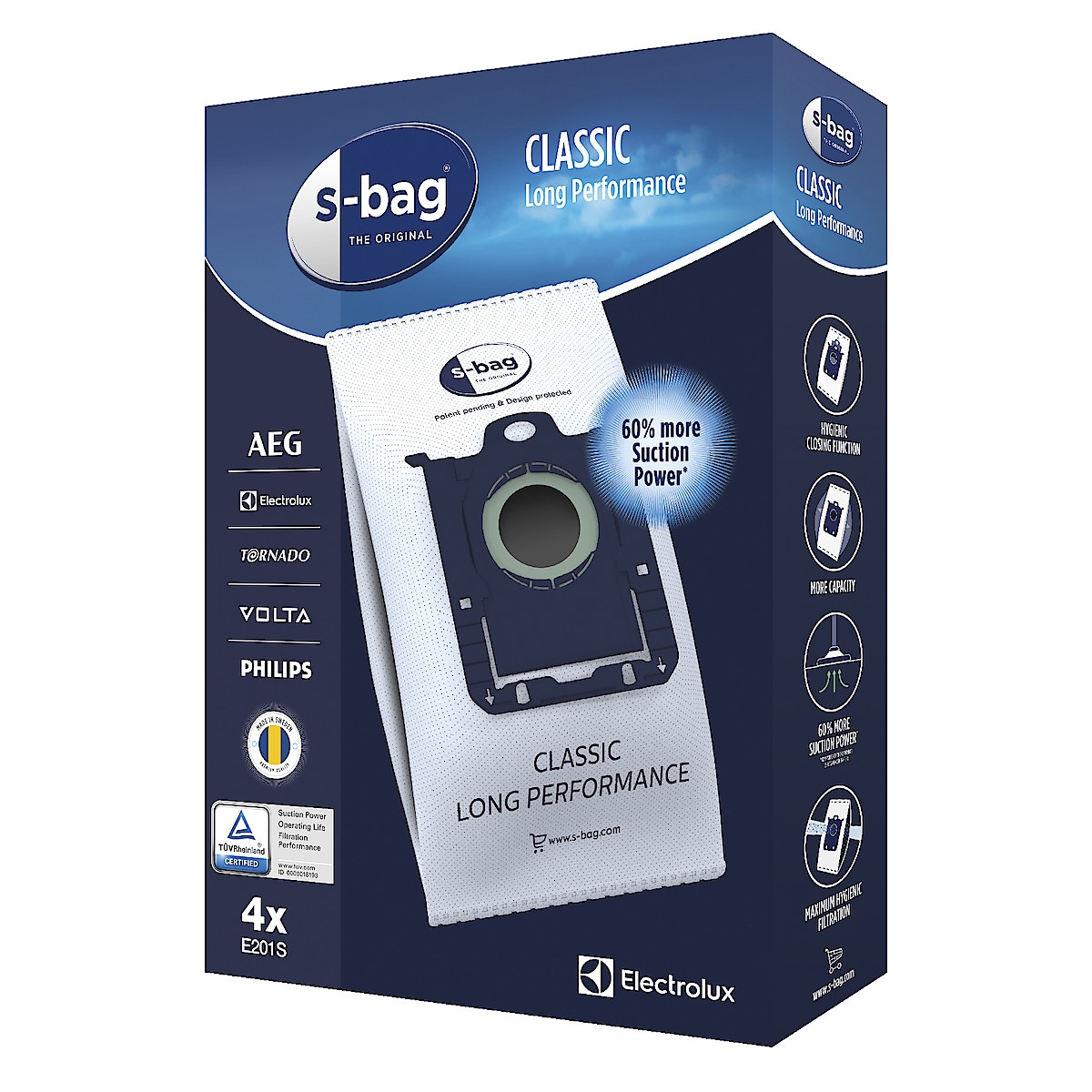 Staubsaugerbeutel S-bag Electrolux E201S, 4er-Pack