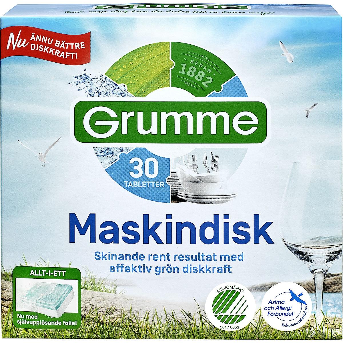 Maskindisktabletter Grumme, 30-pack