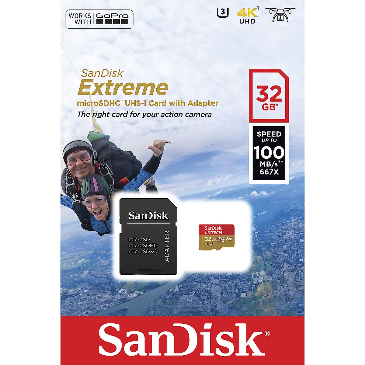 MicroSD Extreme Flash minneskort UHS 1, Sandisk