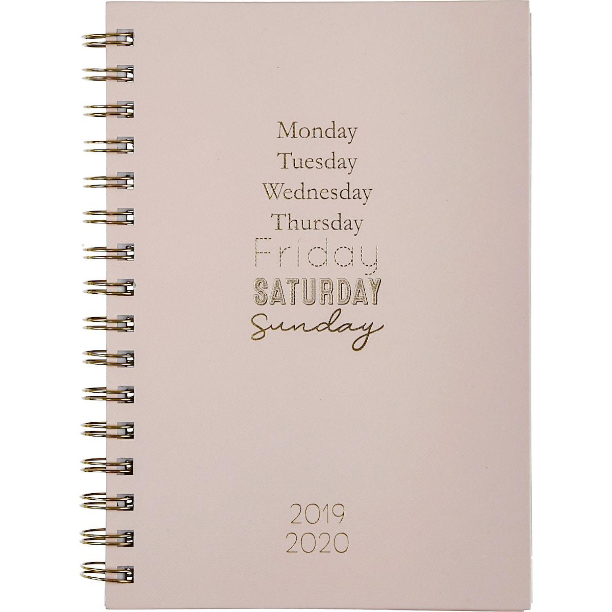 Viikkokalenteri 2019/2020, vaaleanpunainen