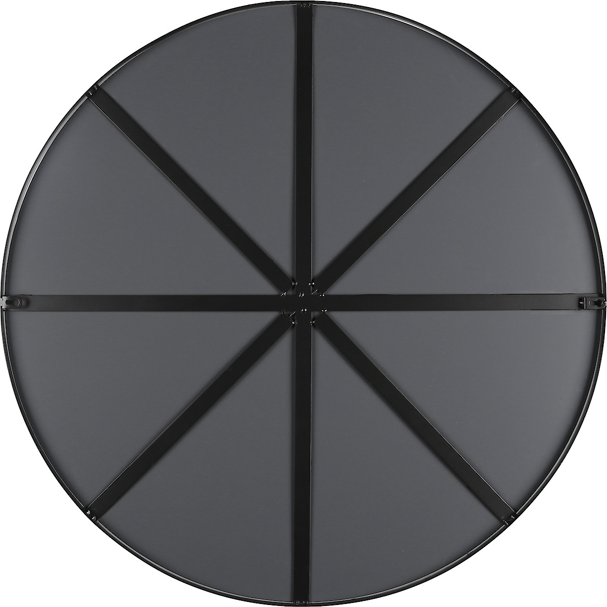 Stort rund speil i svart ramme, 75 cm