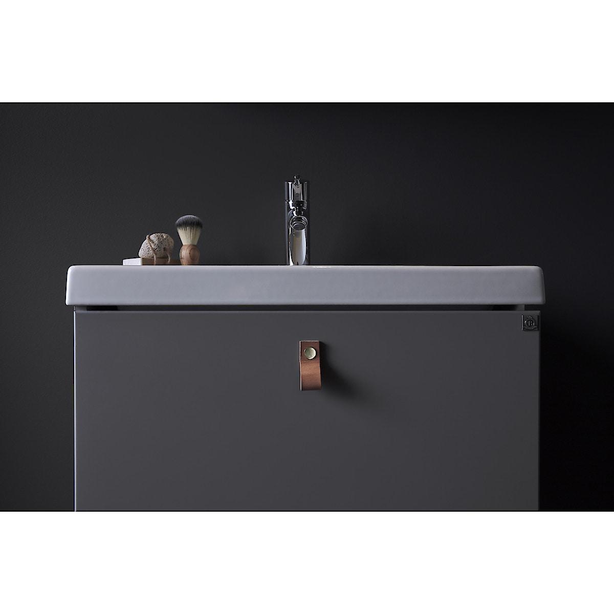 Läderknopp Ari brunt, 65 mm
