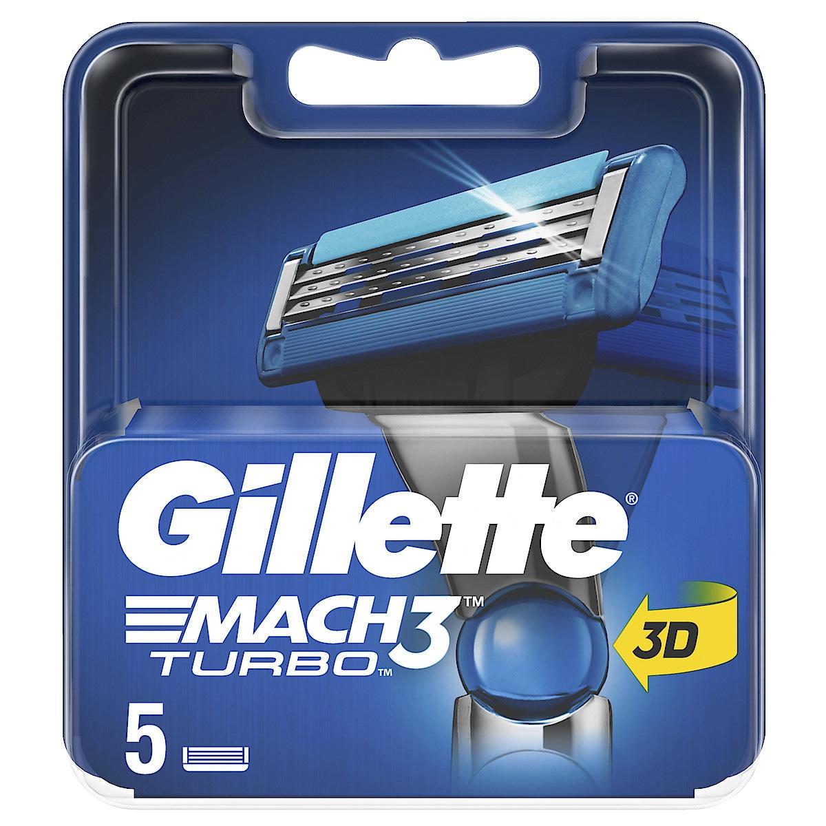 Gillette Mach3 Turbo barberblader, 5-pack