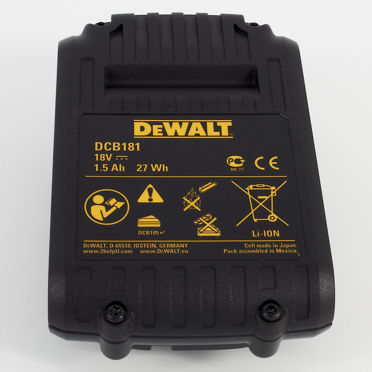 Batteri Dewalt DCB181 18 V/1,5 Ah