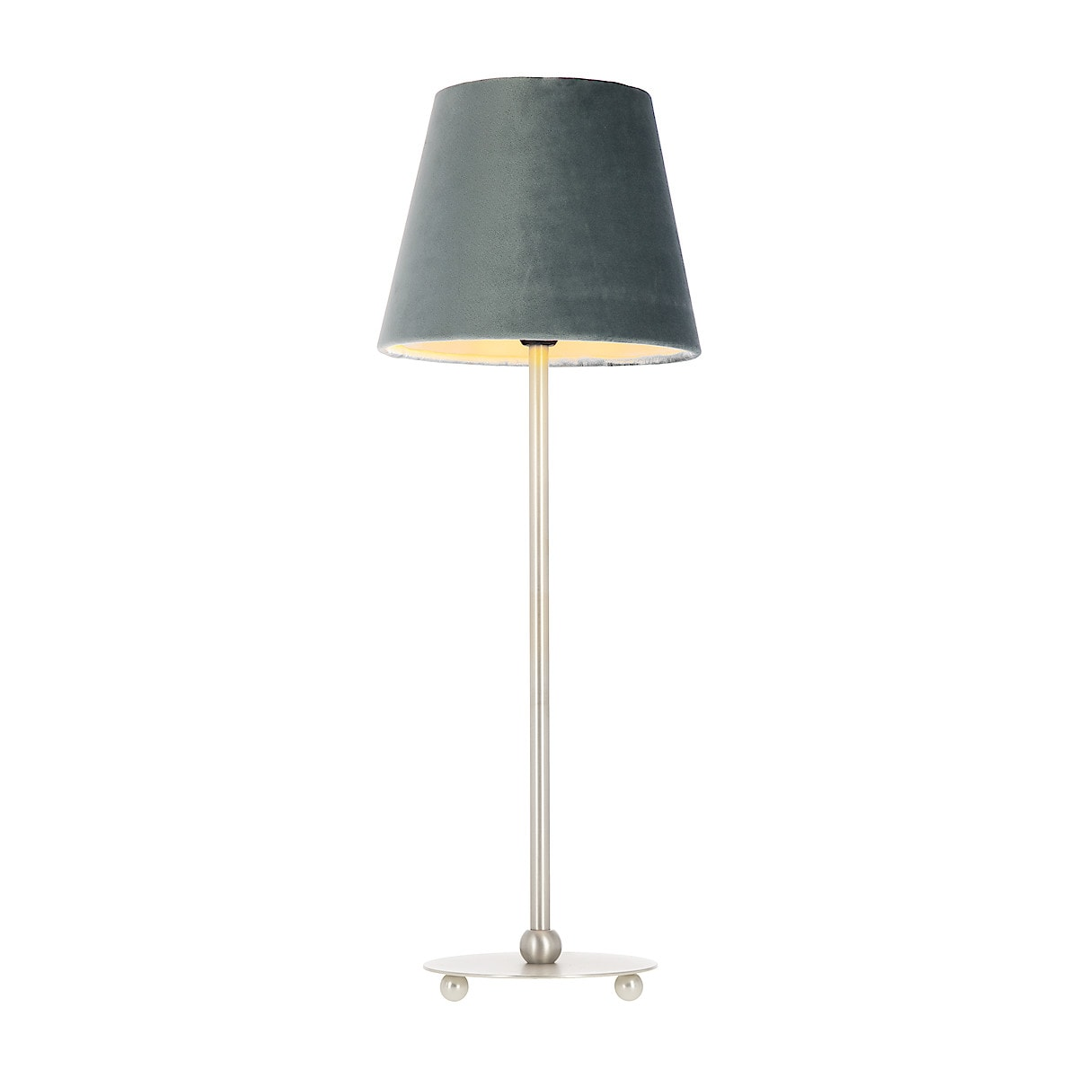 Northlight, bordlampe Ball med petrolfarget fløyelsskjerm