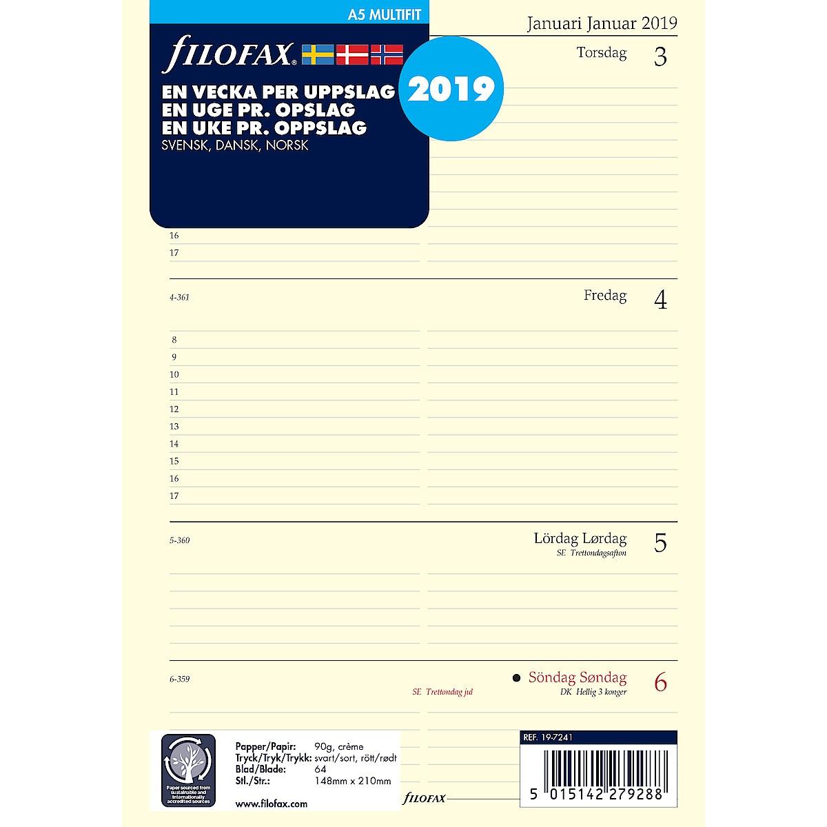 Kalenterilehdet Filofax A5, 2019