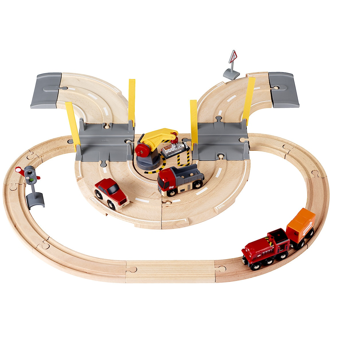 Tågset med väg och kran