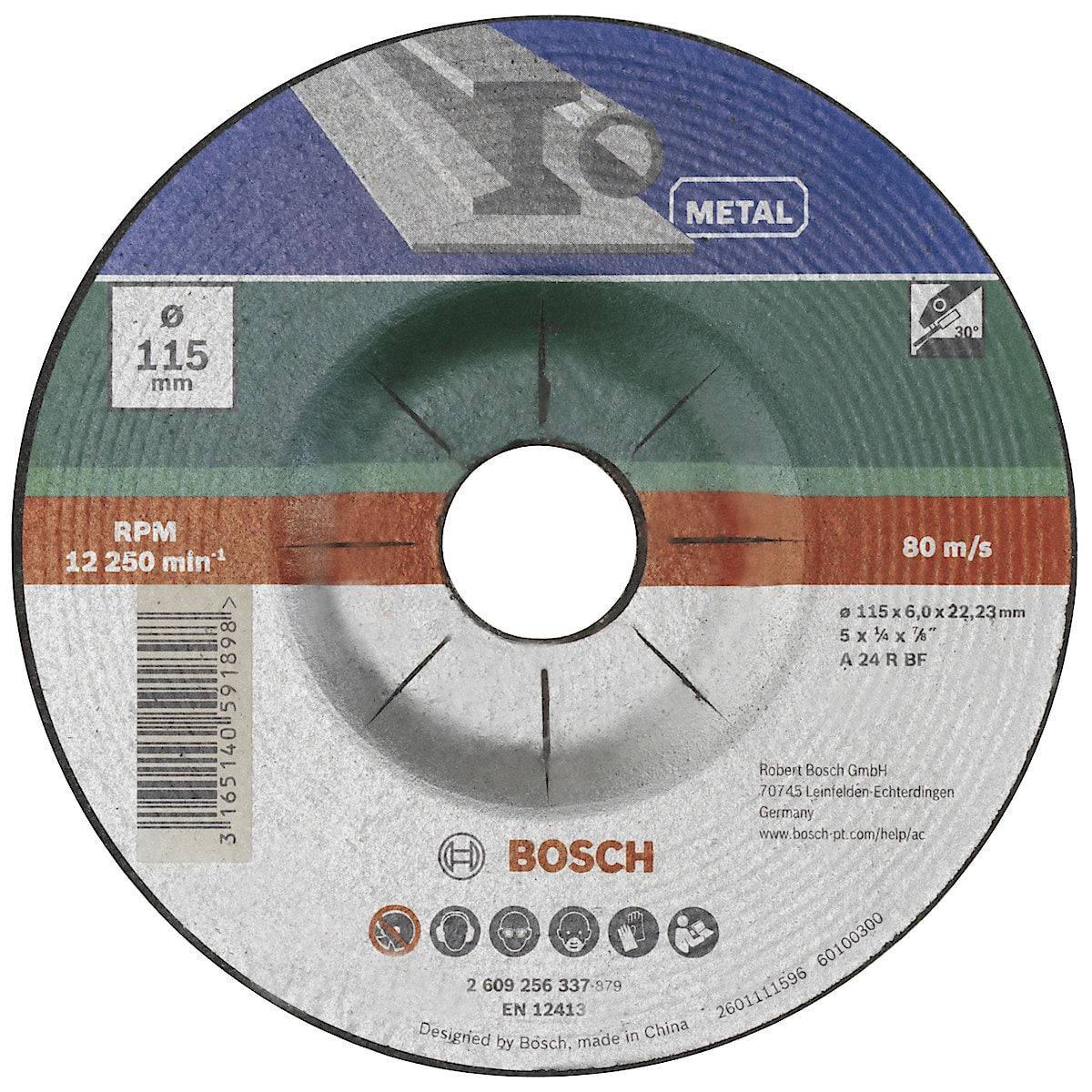 Slipskiva för metall 115 mm, Bosch