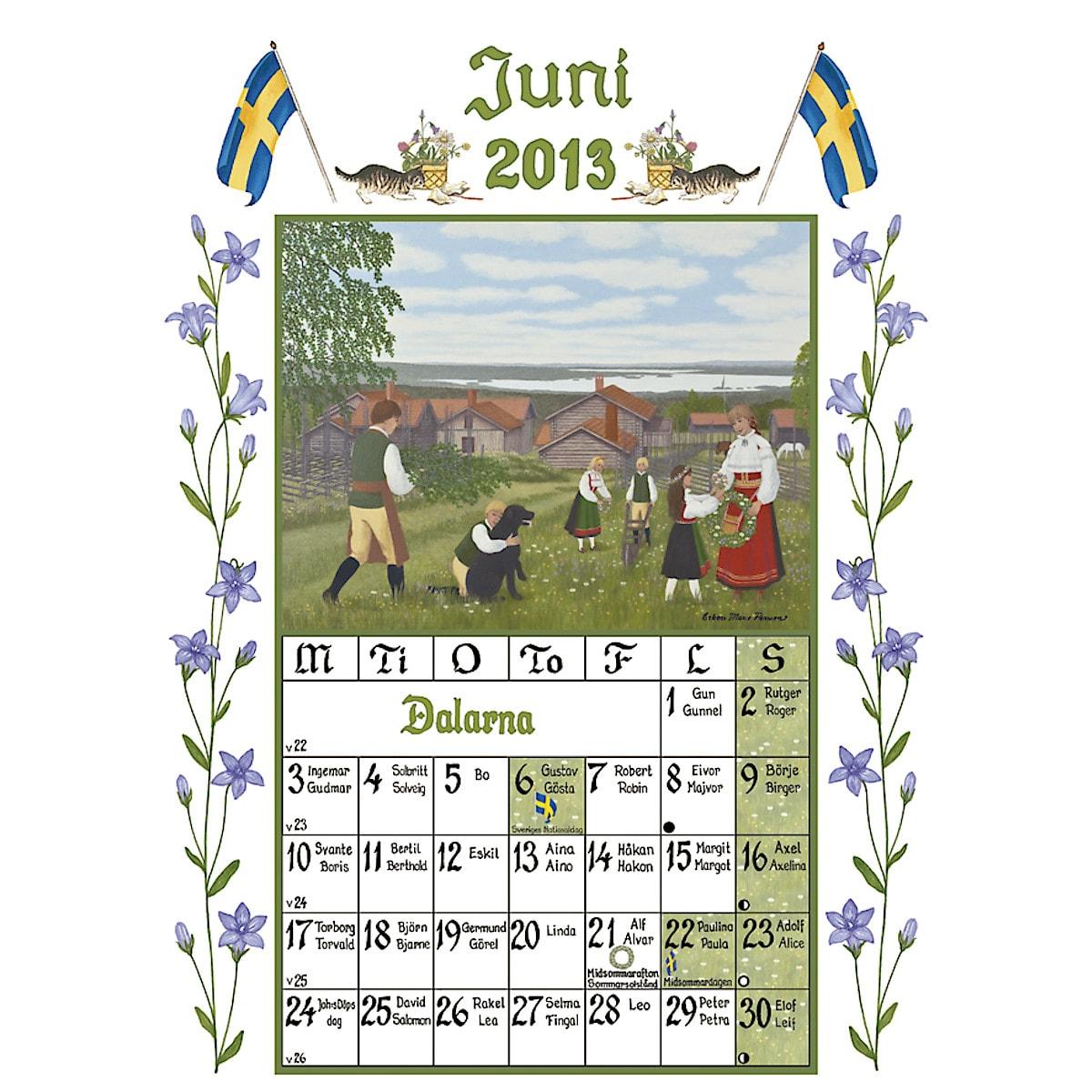 Väggkalender Sverigealmanackan 2013