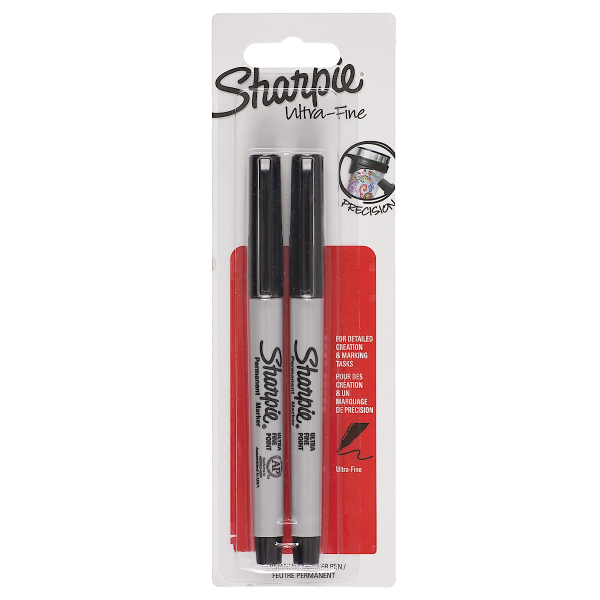 Tuschpennor Sharpie Svart Ultra Fine, 2-pack