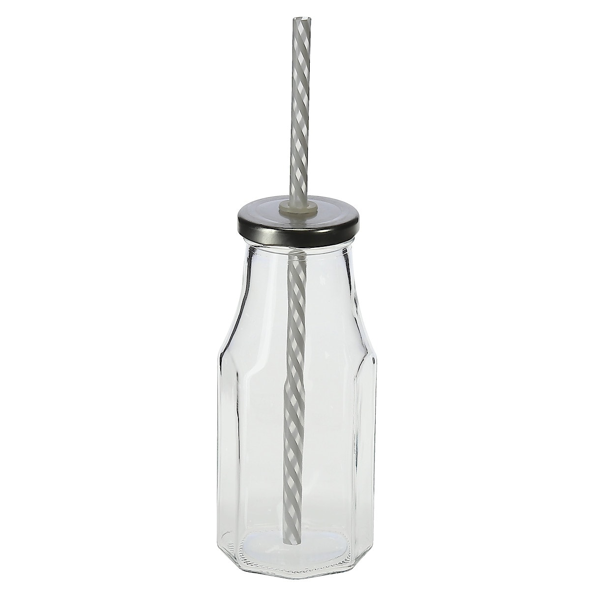 Octagon Glass Drinking Bottles with Straws