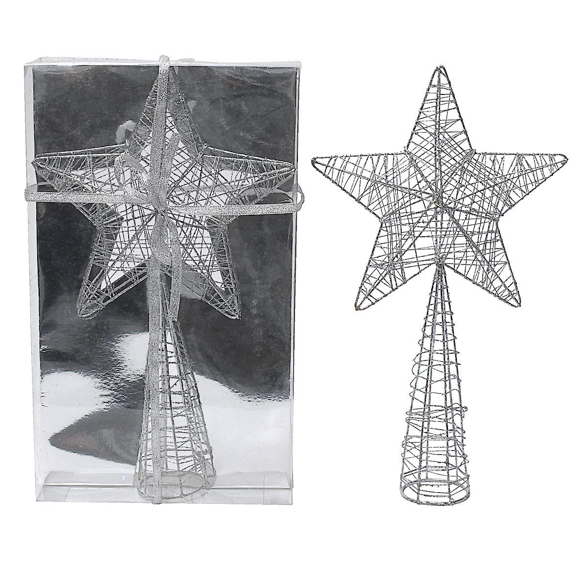 Toppstjärna 32 cm, silver