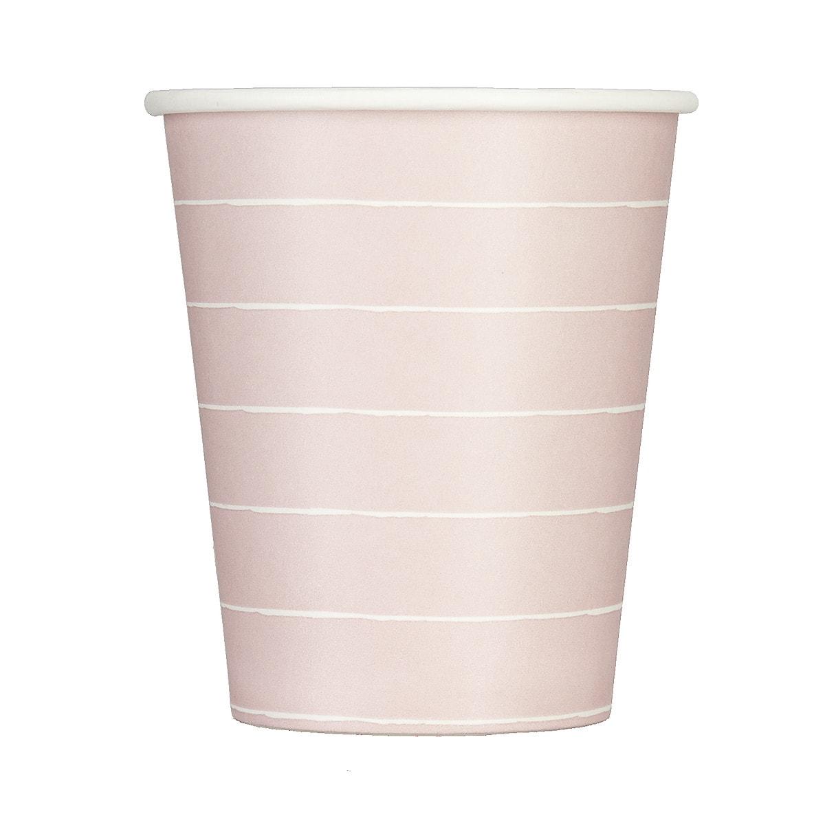Pappbecher 230 ml rosa-weiß, 20er-Pack