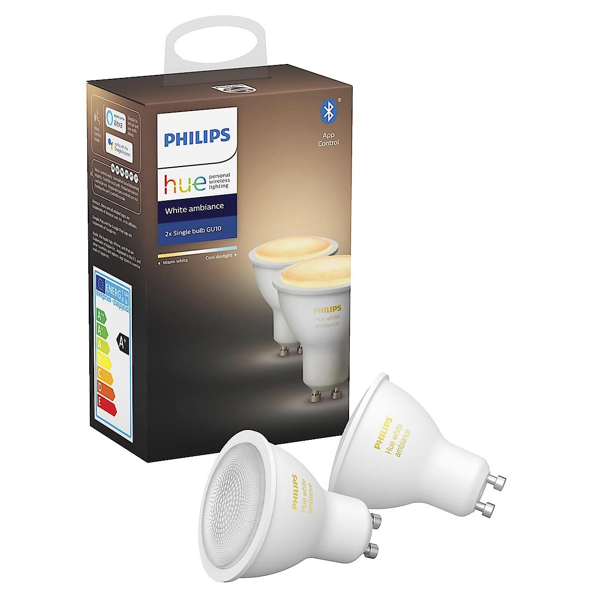 Philips Hue Ambiance LED-lampa 6 W GU10 2-pack, Bluetooth