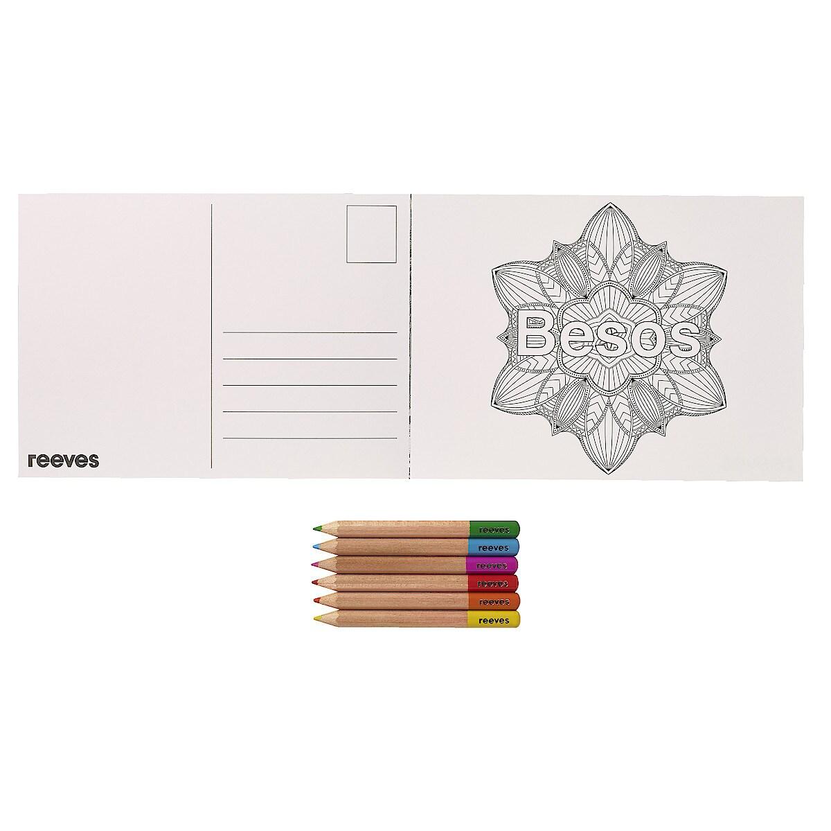 Målarbok Vykort med pennor, Reeves Colourful Cosmos