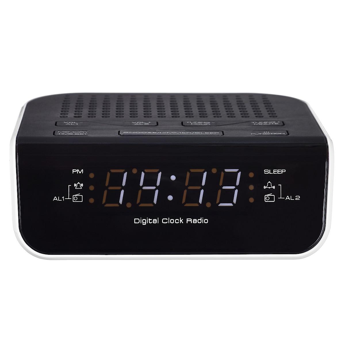 Kelloradio, kaksi herätystä, musta