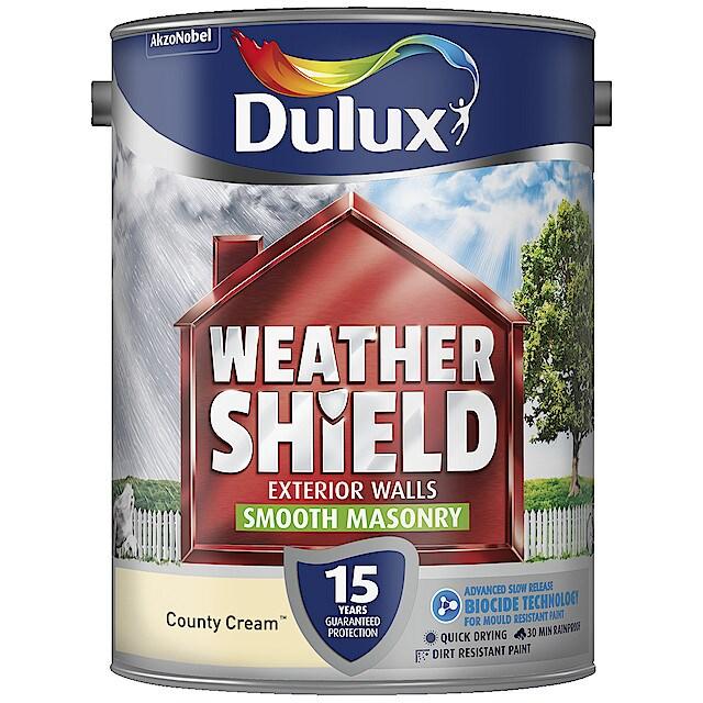 2 Pack Dulux Weathershield Smooth Masonry Paint 5L Gardenia