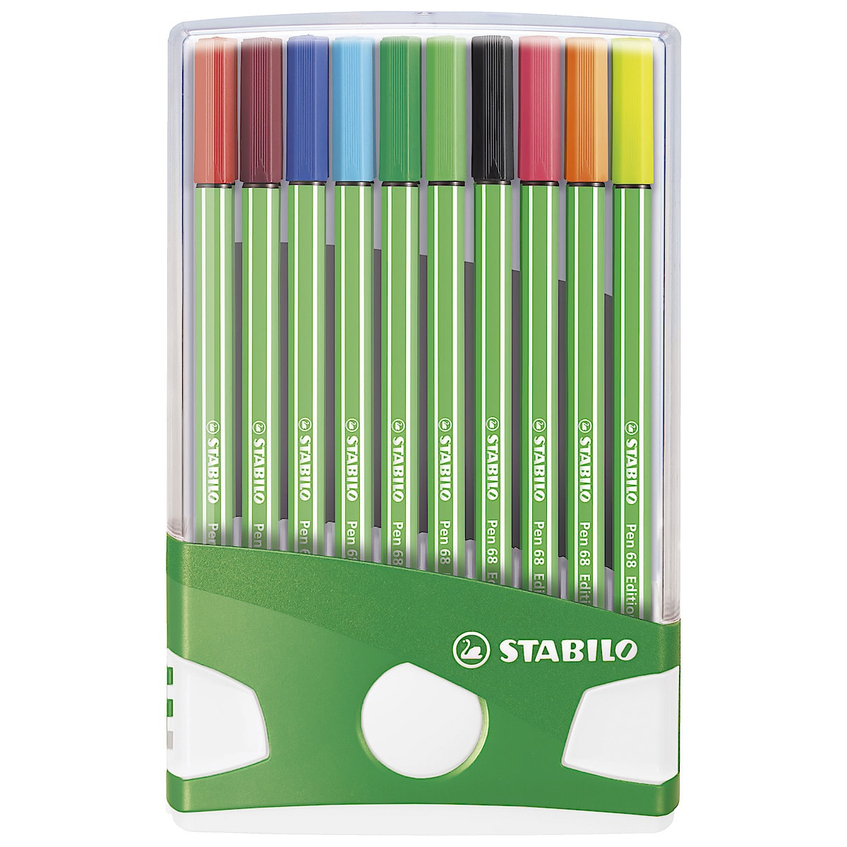 Set of 10 Fineliner Stabilo 68 Coloured Pens Green Edition