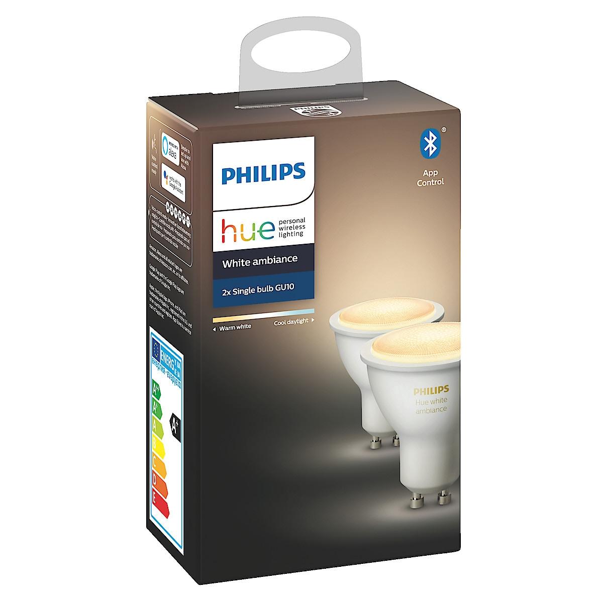 Philips Hue Ambiance LED-pære 6 W GU10 2 stk/pk, Bluetooth