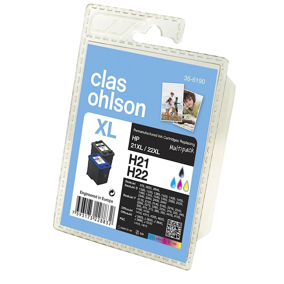 Bläckpatron HP 21/22 Clas Ohlson Multipack