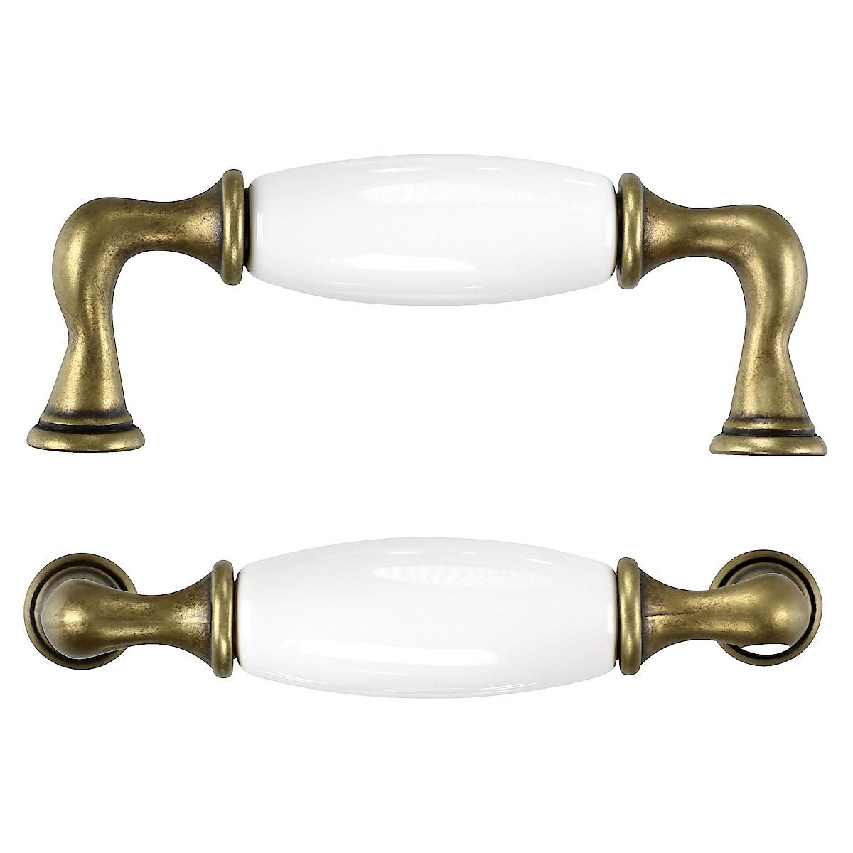 Porslinshandtag, vit/antik guld