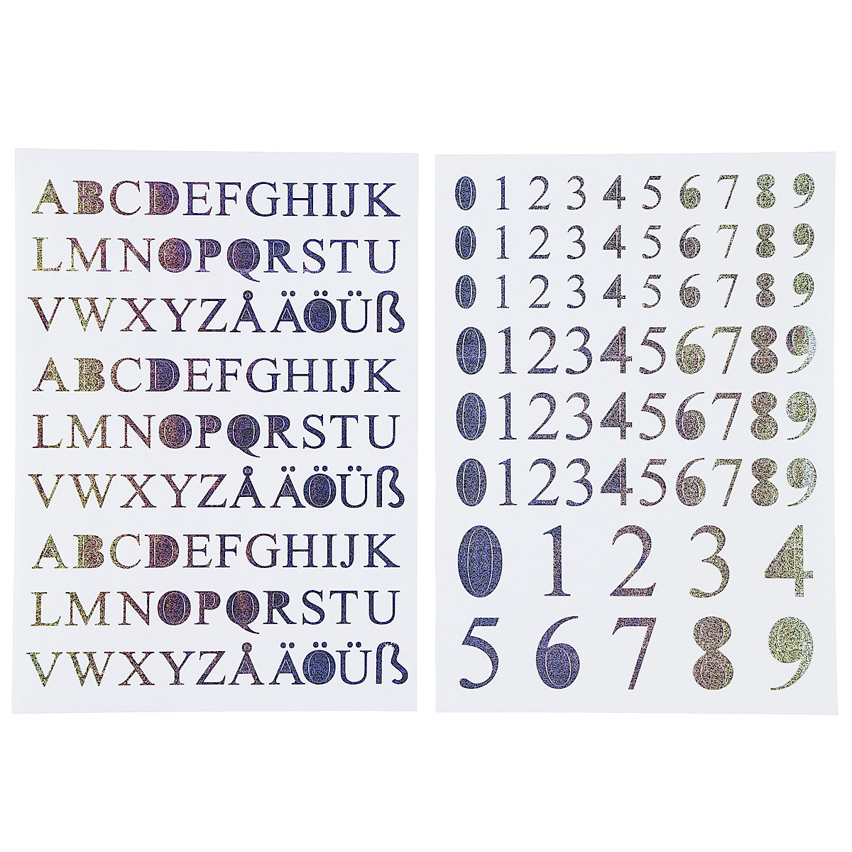Self-Adhesive Numbers and Letters