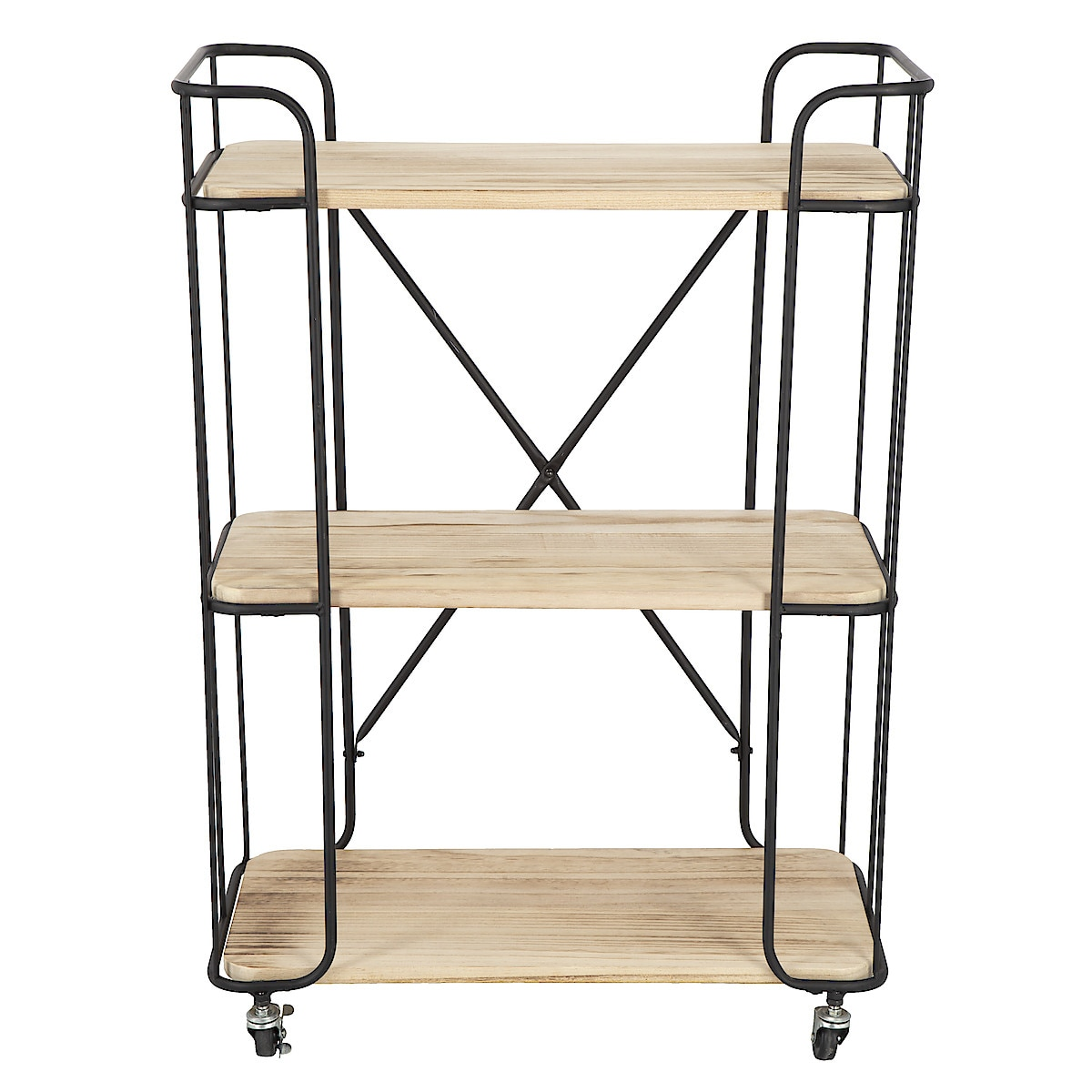Wood/Metal Trolley Shelf Unit