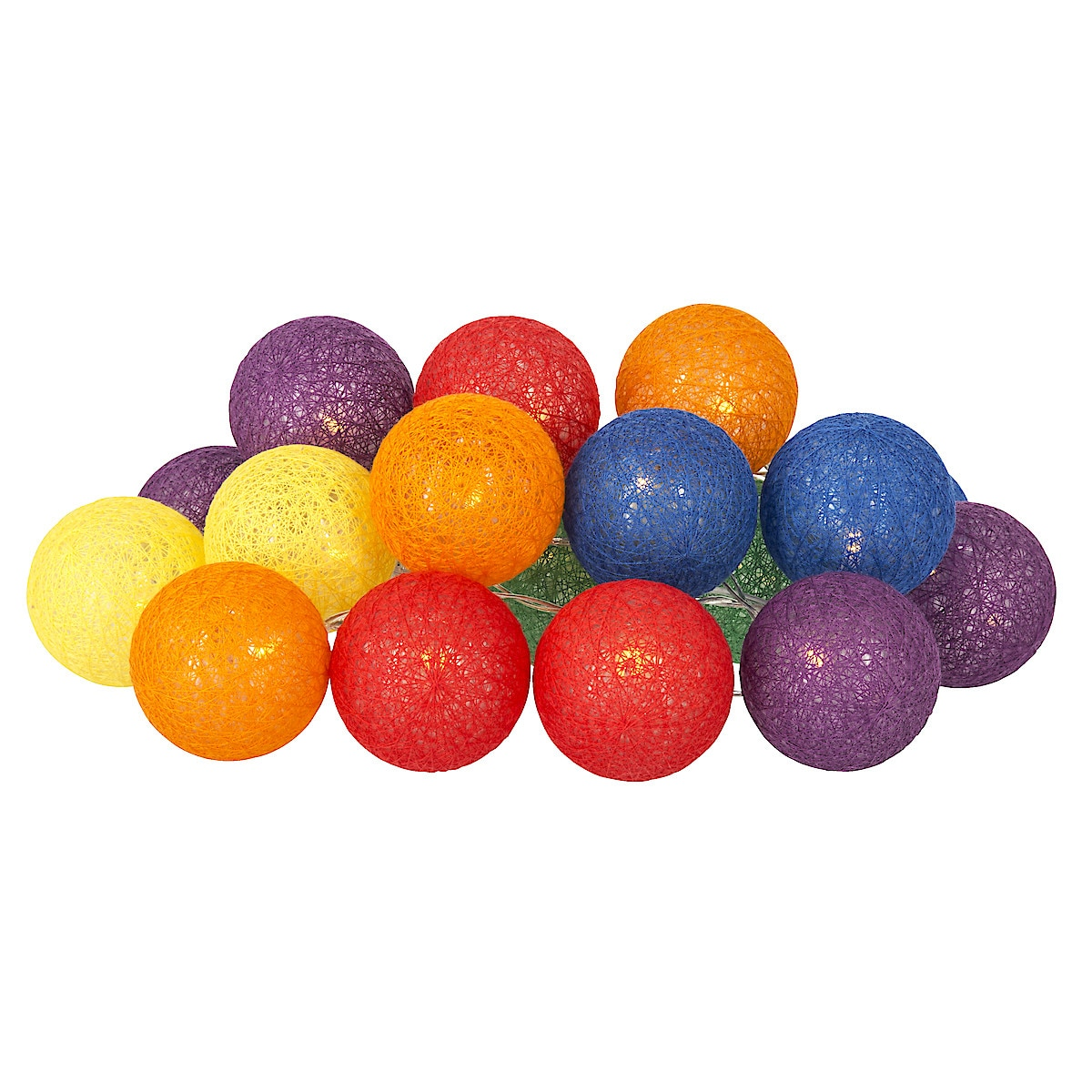 Ljusslinga med färgade bollar