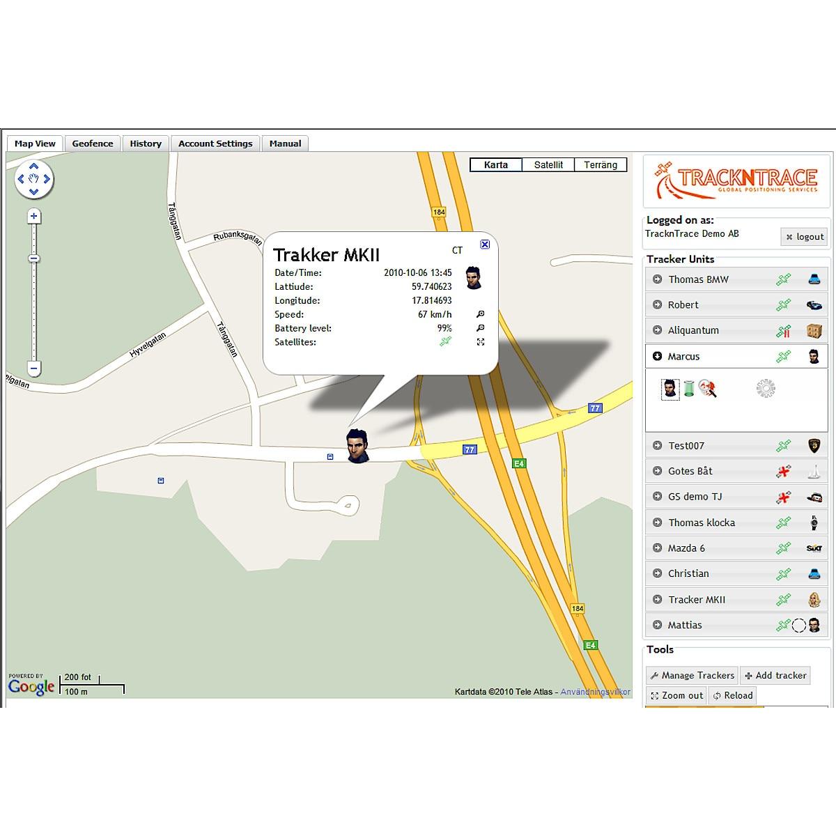 GPS-spårning/larm Trackntrace