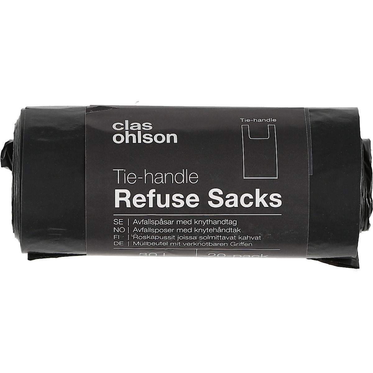 Avfallsposer med knytehåndtak 30 l, 20 pk
