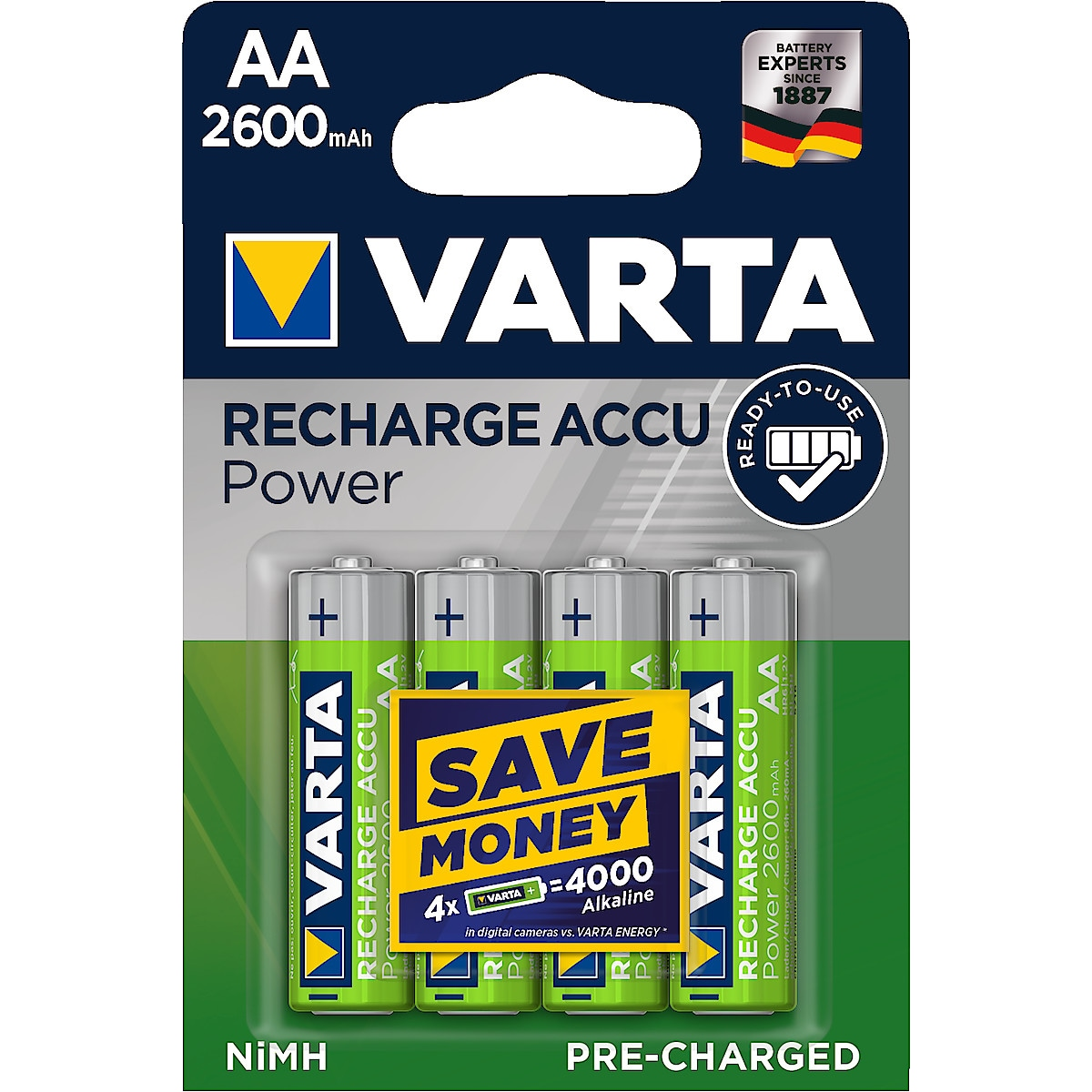 Laddningsbart batteri AA/HR6 2600 mAh VARTA Power