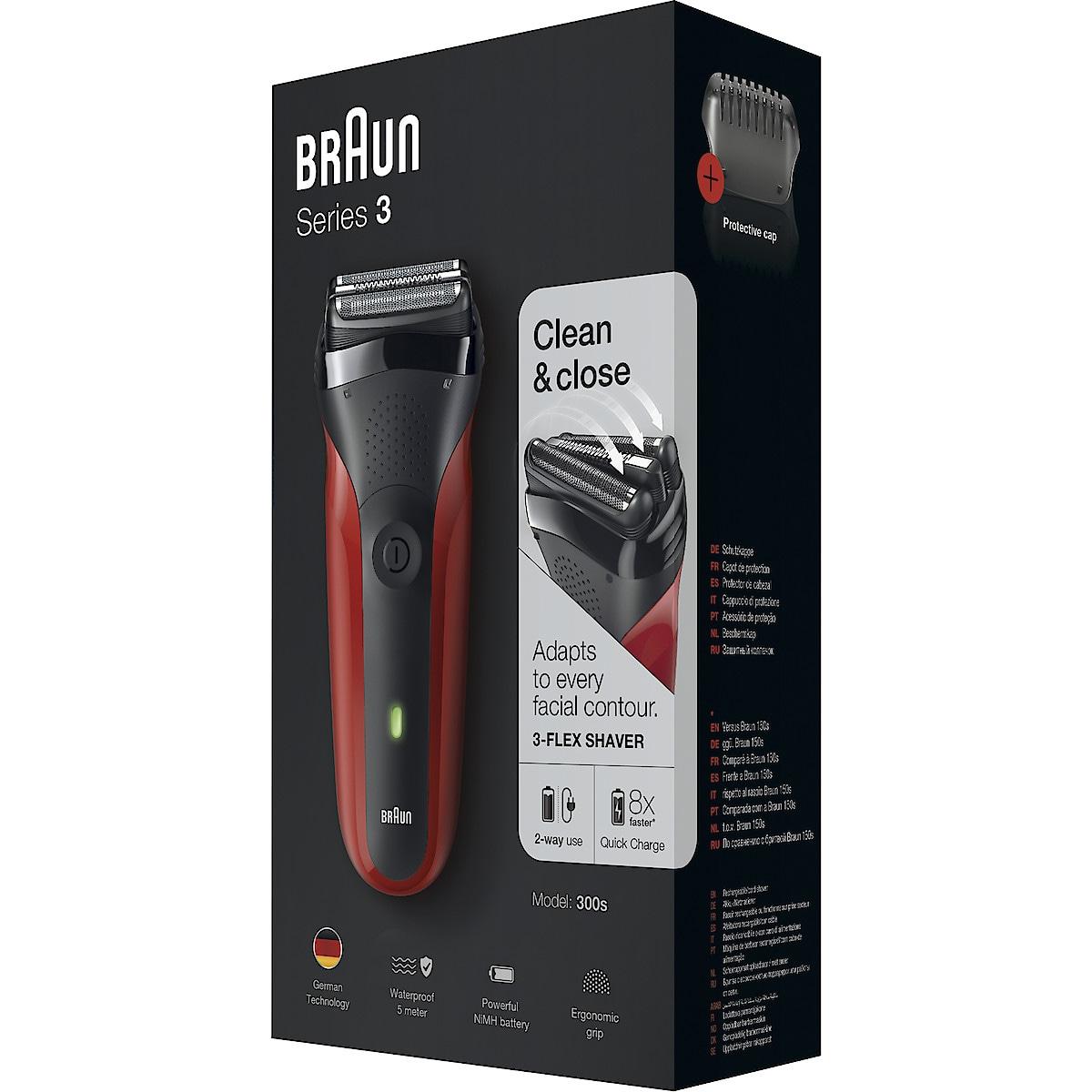 Braun 300s red Series 3 barbermaskin | Clas Ohlson